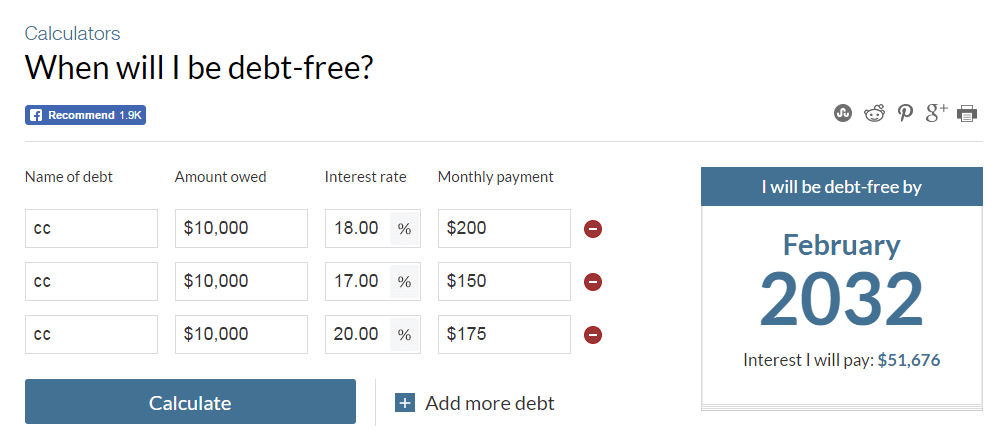 CNN Money debt payoff calculator