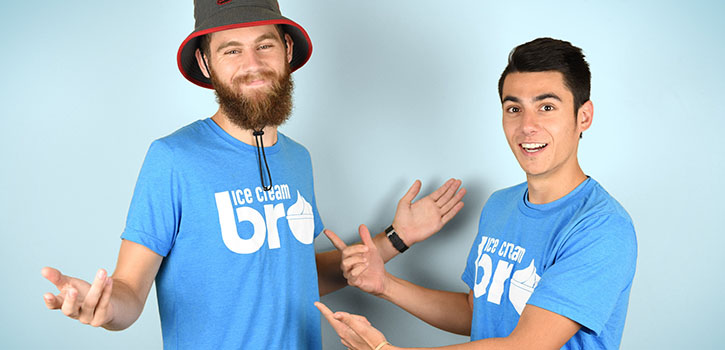 Ice Cream Bros have expanded their business to selling t-shirts and stickers.